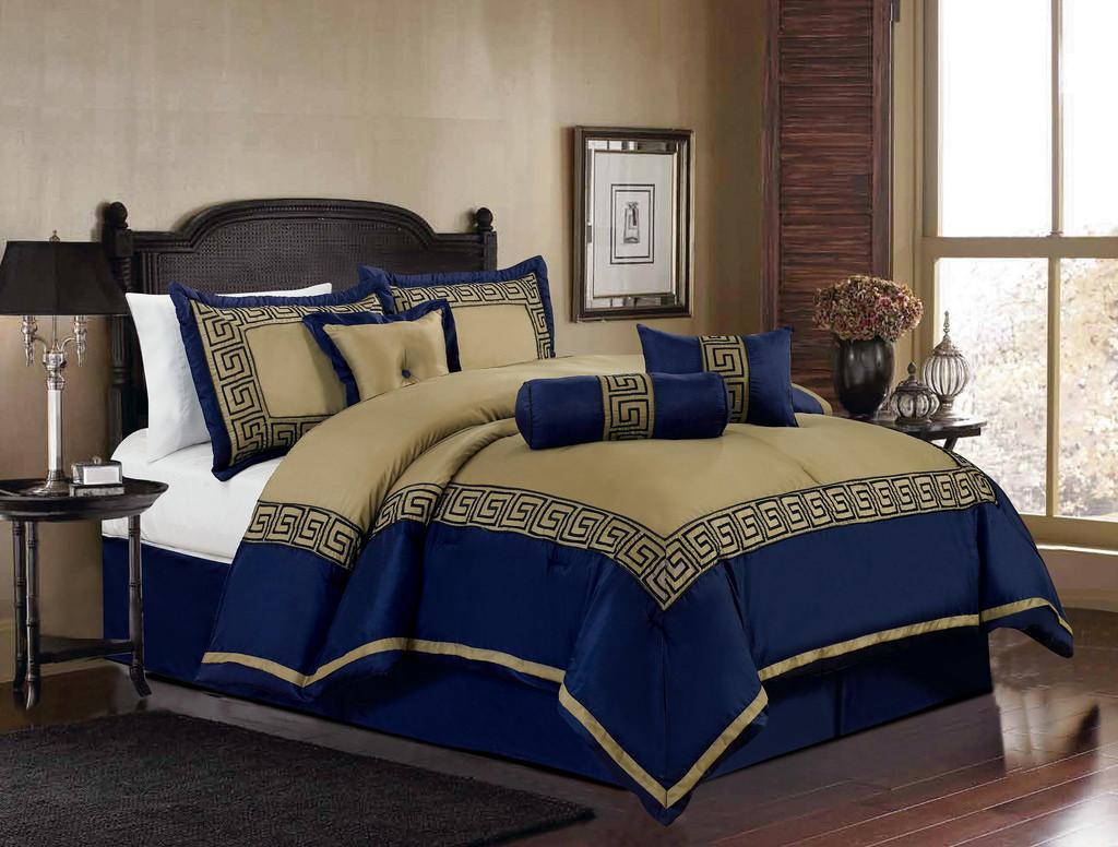 Сине-бежевое постельное белье в спальне