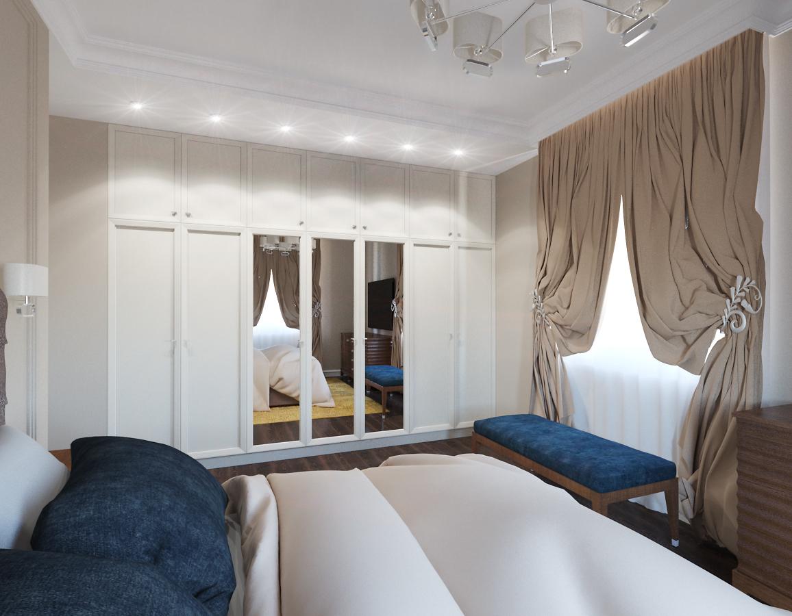 Грамотно расположенное освещение в спальне с синими ацентами