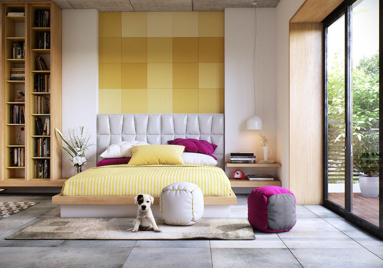 Желтое панно и постельное белье в спальне