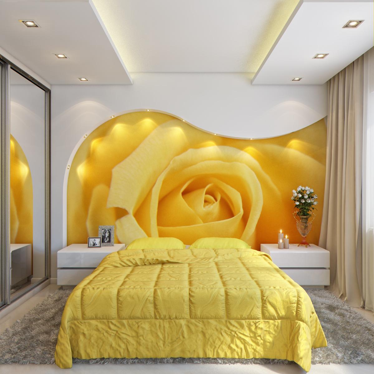 Красивое точечное освещение в желто-белой спальне