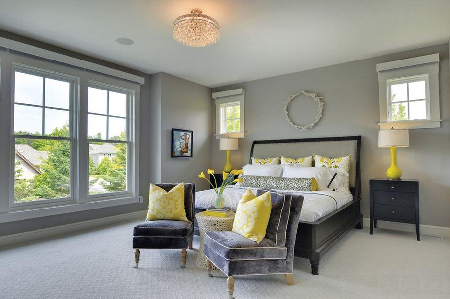 Серый пол в желто-серой спальне