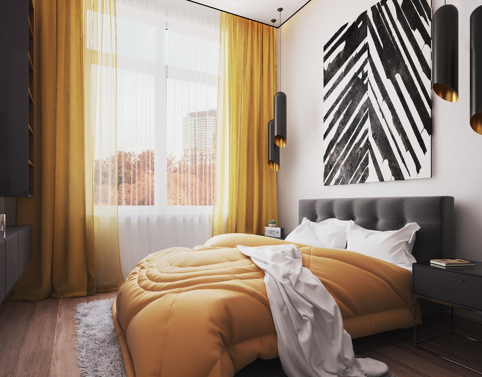 Белый потолок в спальне с желтыми шторами