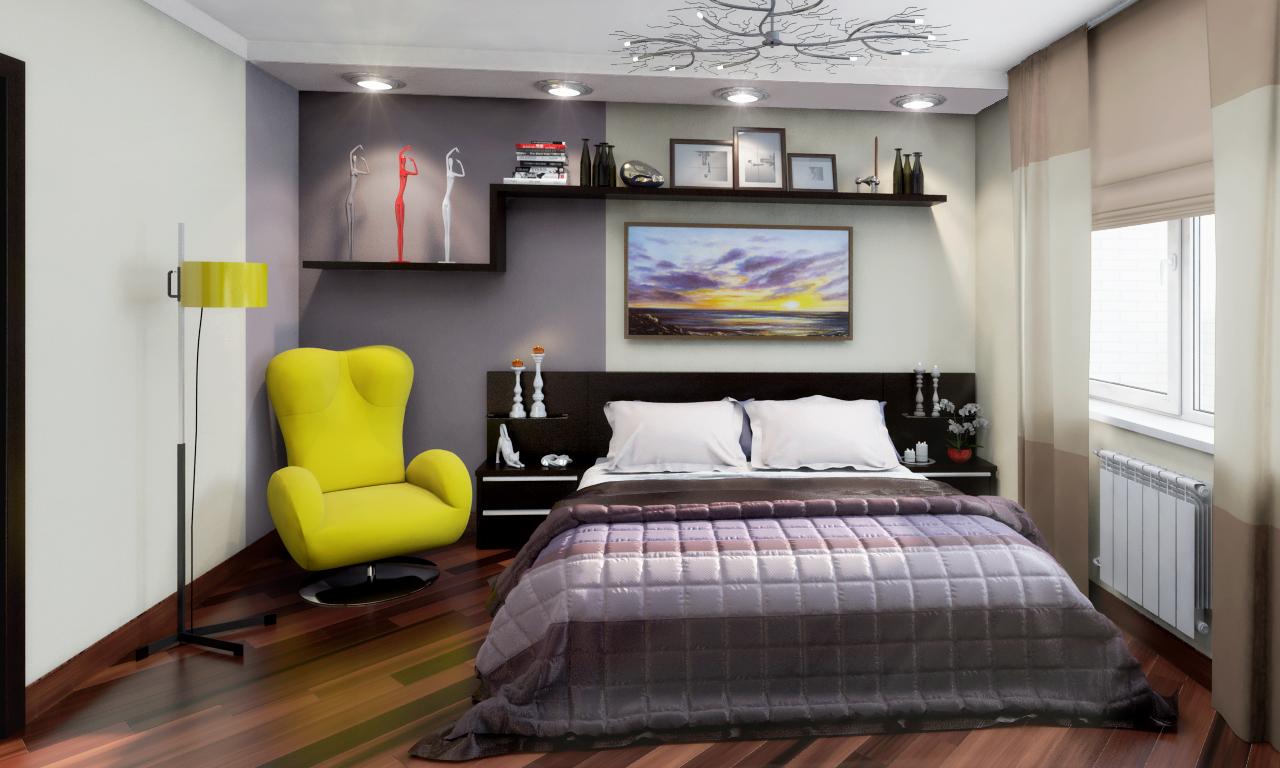 Черная и желтая мебель в спальне