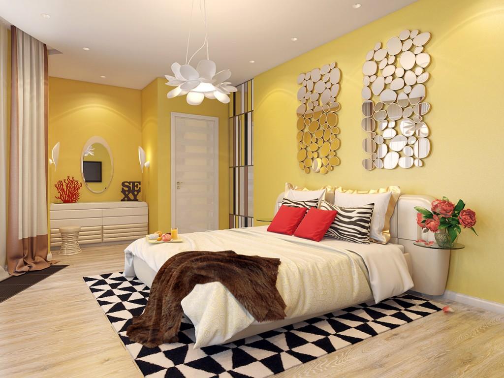 Зеркальные панно в спальне с желтыми стенами
