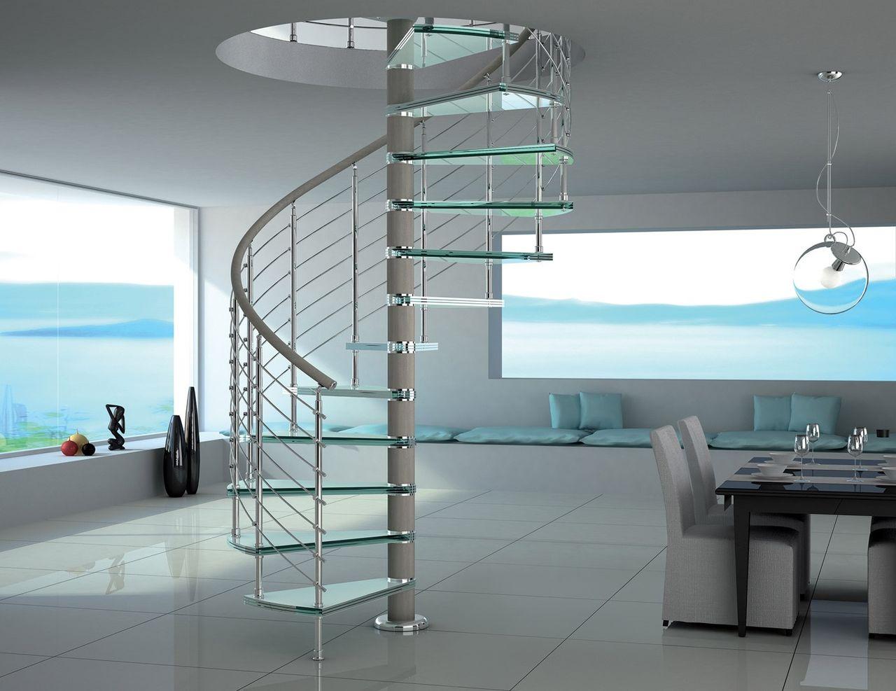 Винтовая лестница со стеклянными ступенями