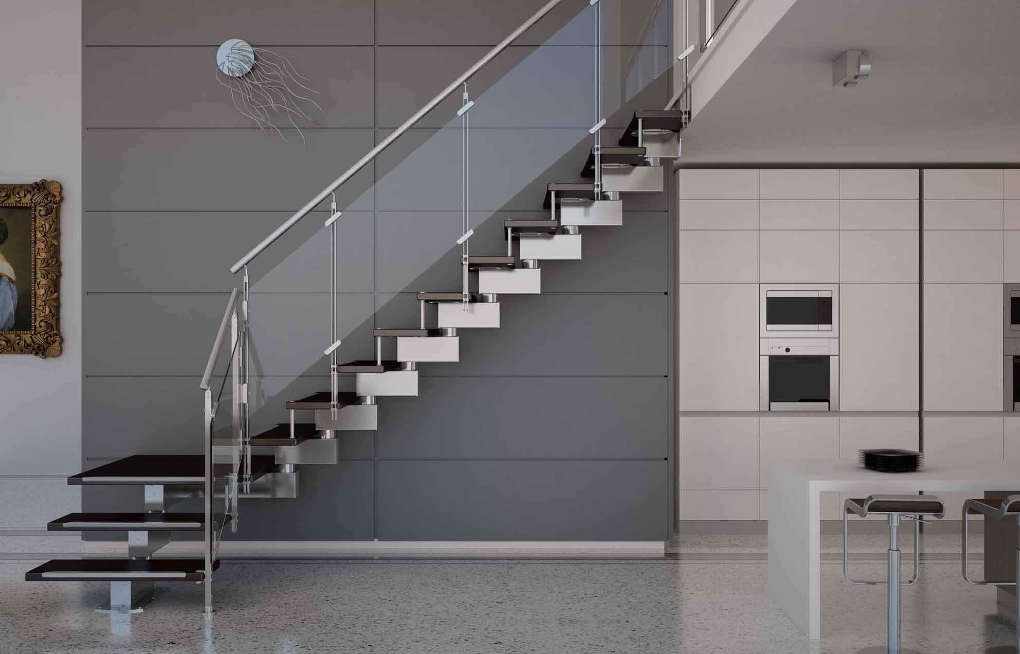 Лестница из дерева, стекла и металла в интерьере