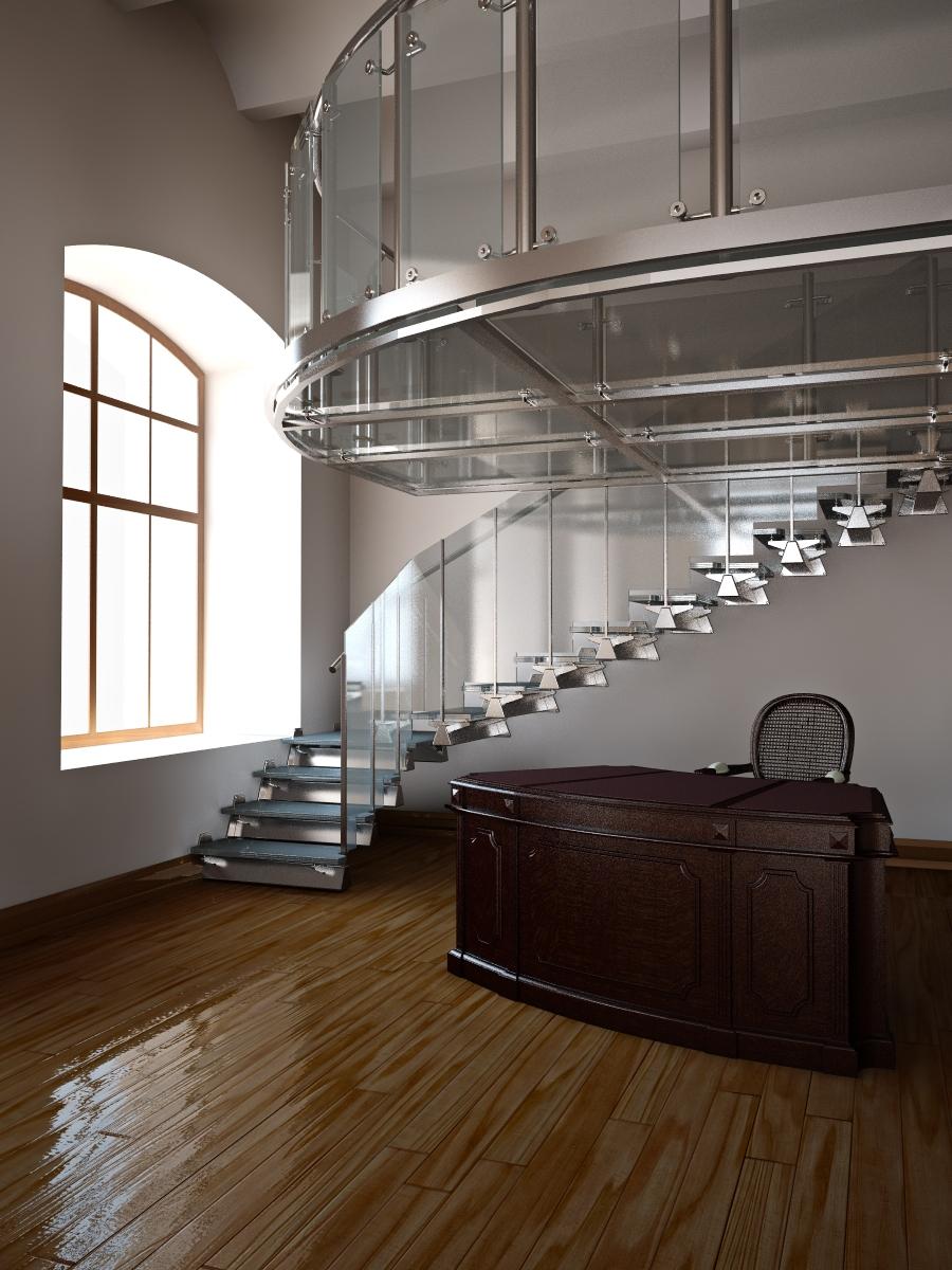 Необычная лестница из стекла и металла