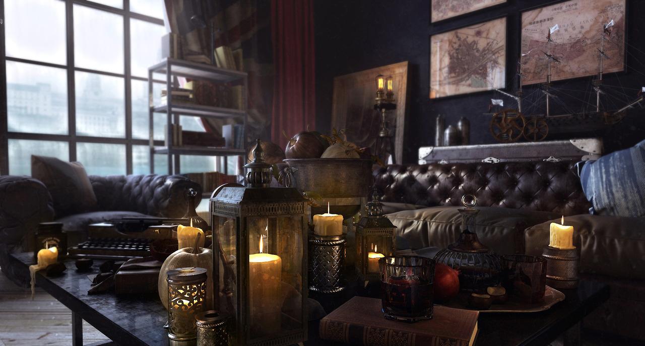 Уютная гостиная в стиле стимпанк