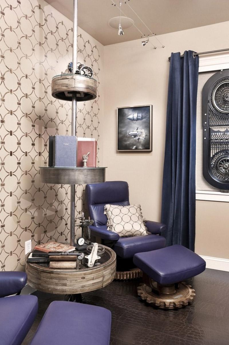 Гостиная с фиолетовыми акцентами в стиле стимпанк