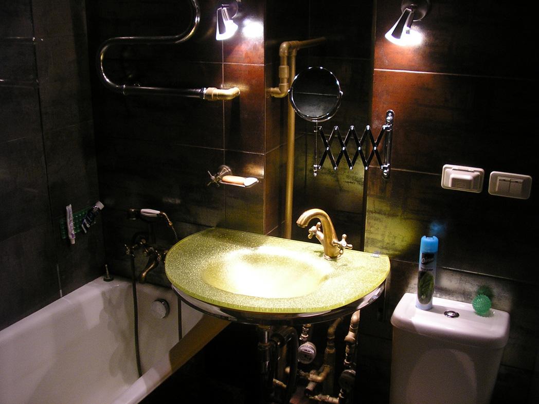 Ванная в темных тонах в стиле стимпанк