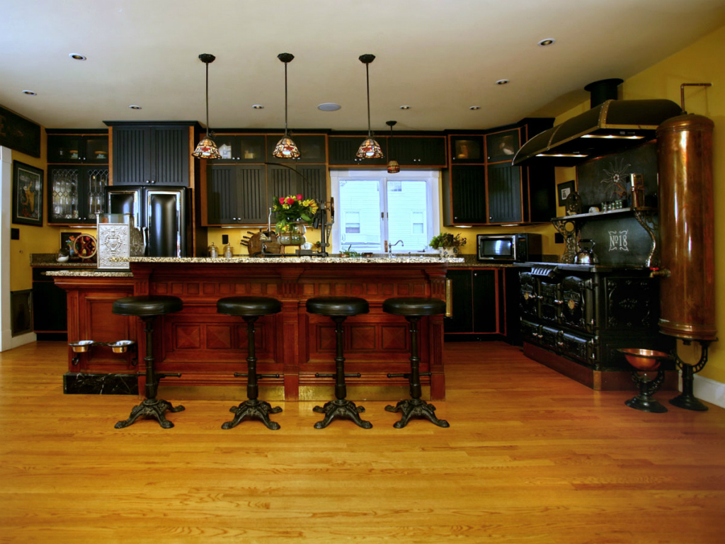 Кухня с островом в стиле стимпанк