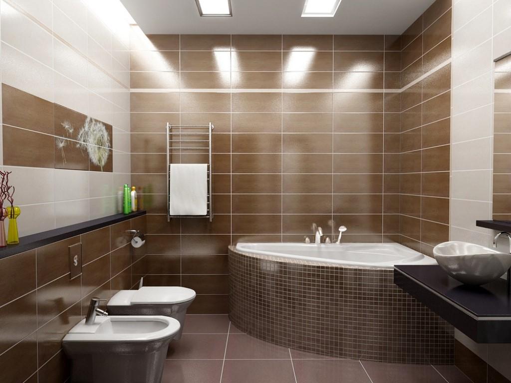 Коричнево-бежевая ванная
