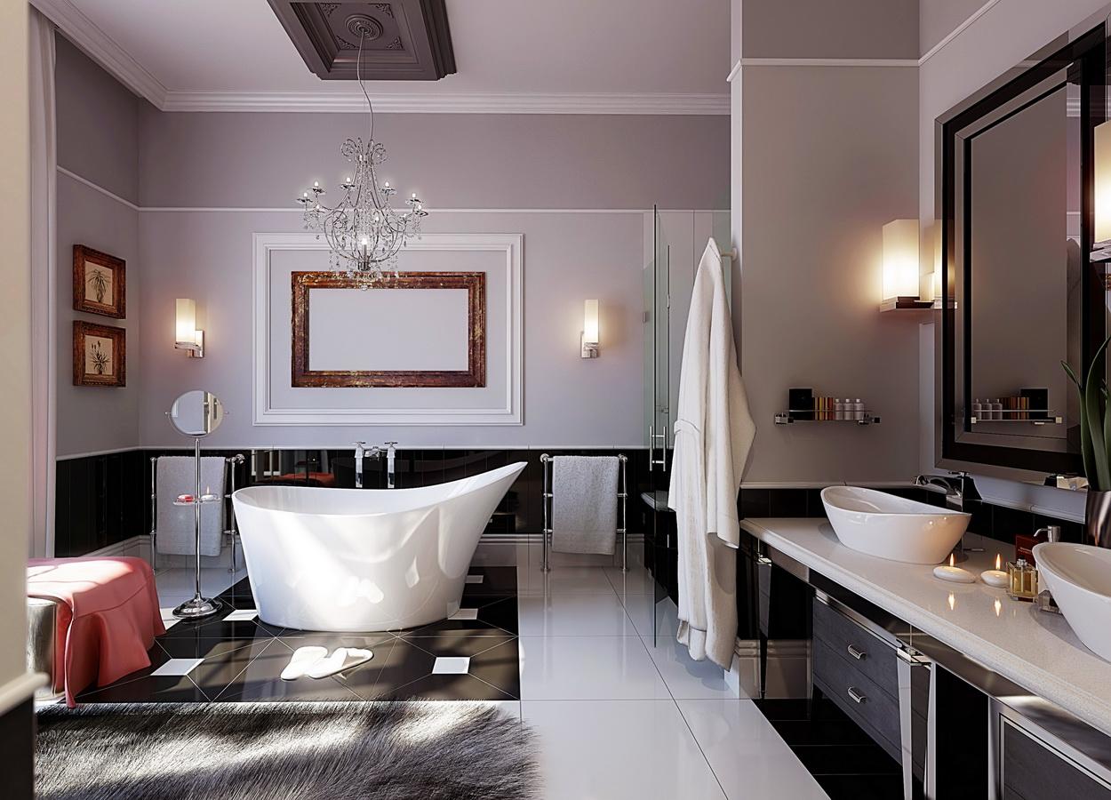 Красный, серый и белый текстиль в ванной