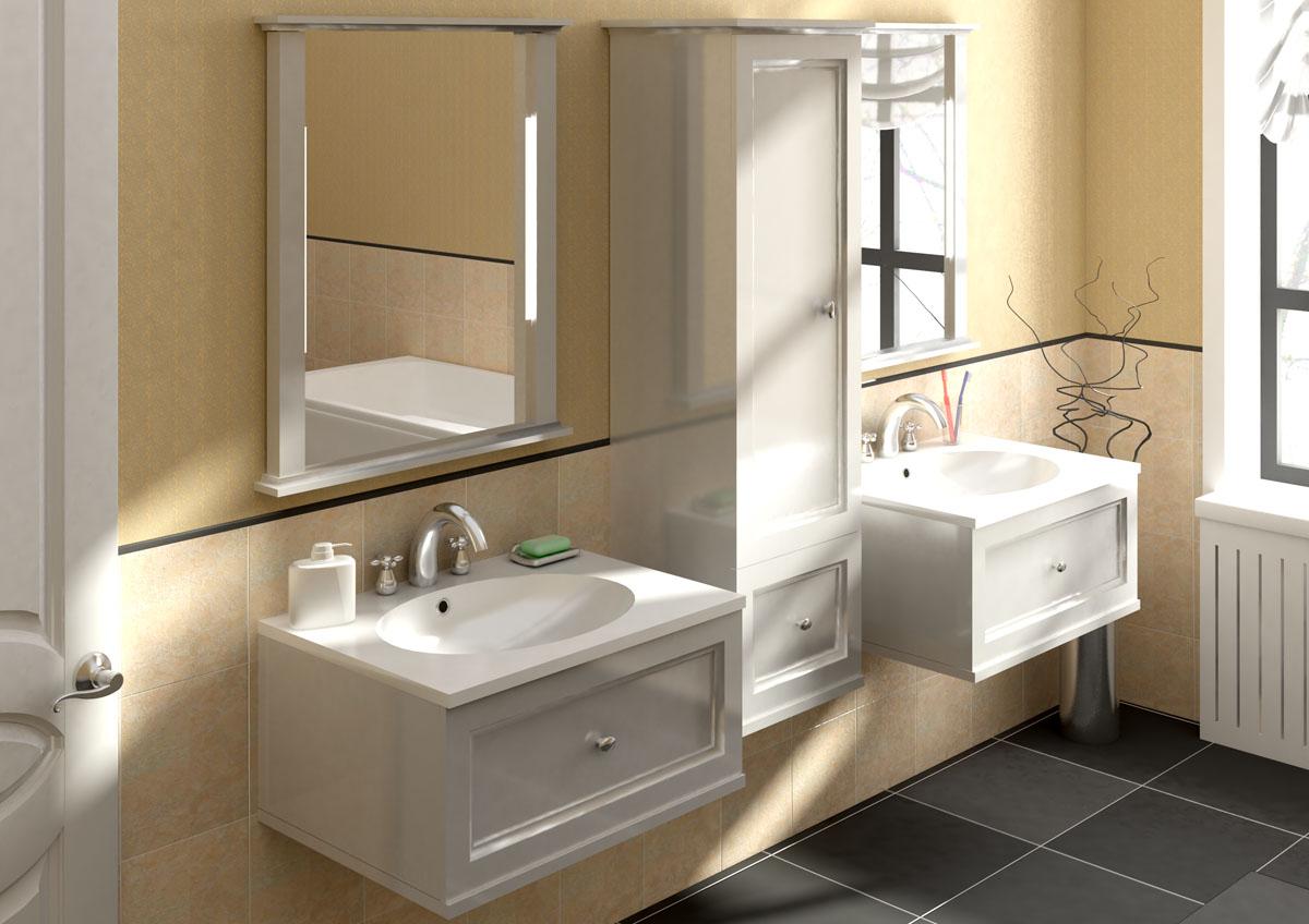 Бежевый, белый и черный цвета в интерьере ванной комнаты