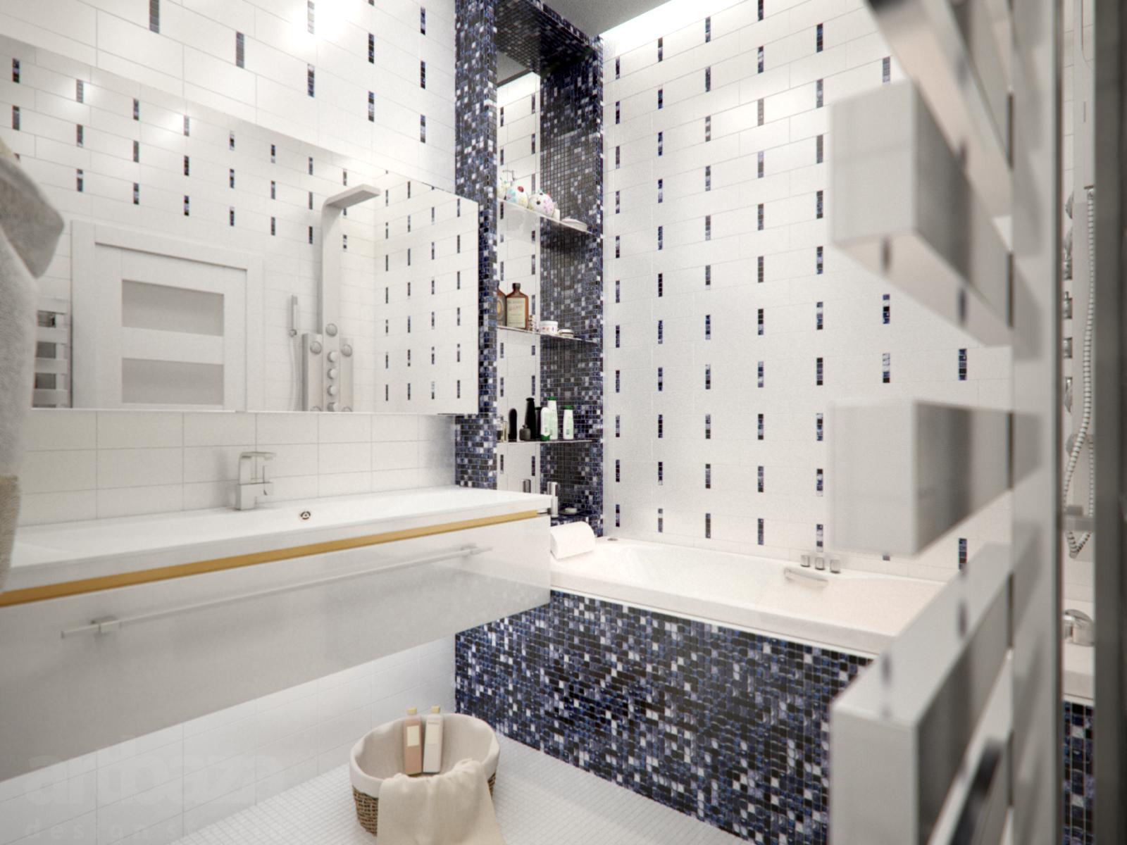 Мозаика в синих тонах в белой ванной