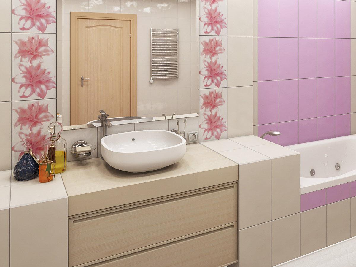 Розовый акцент в ванной комнате