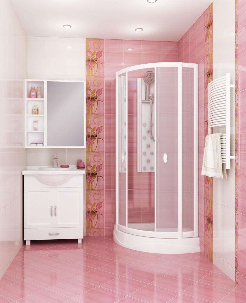 Бело-розовый интерьер ванной с орнаментами на плитке