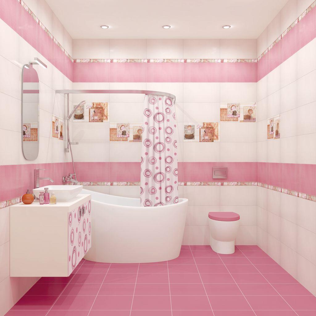 Розово-белая ванная с красивой плиткой