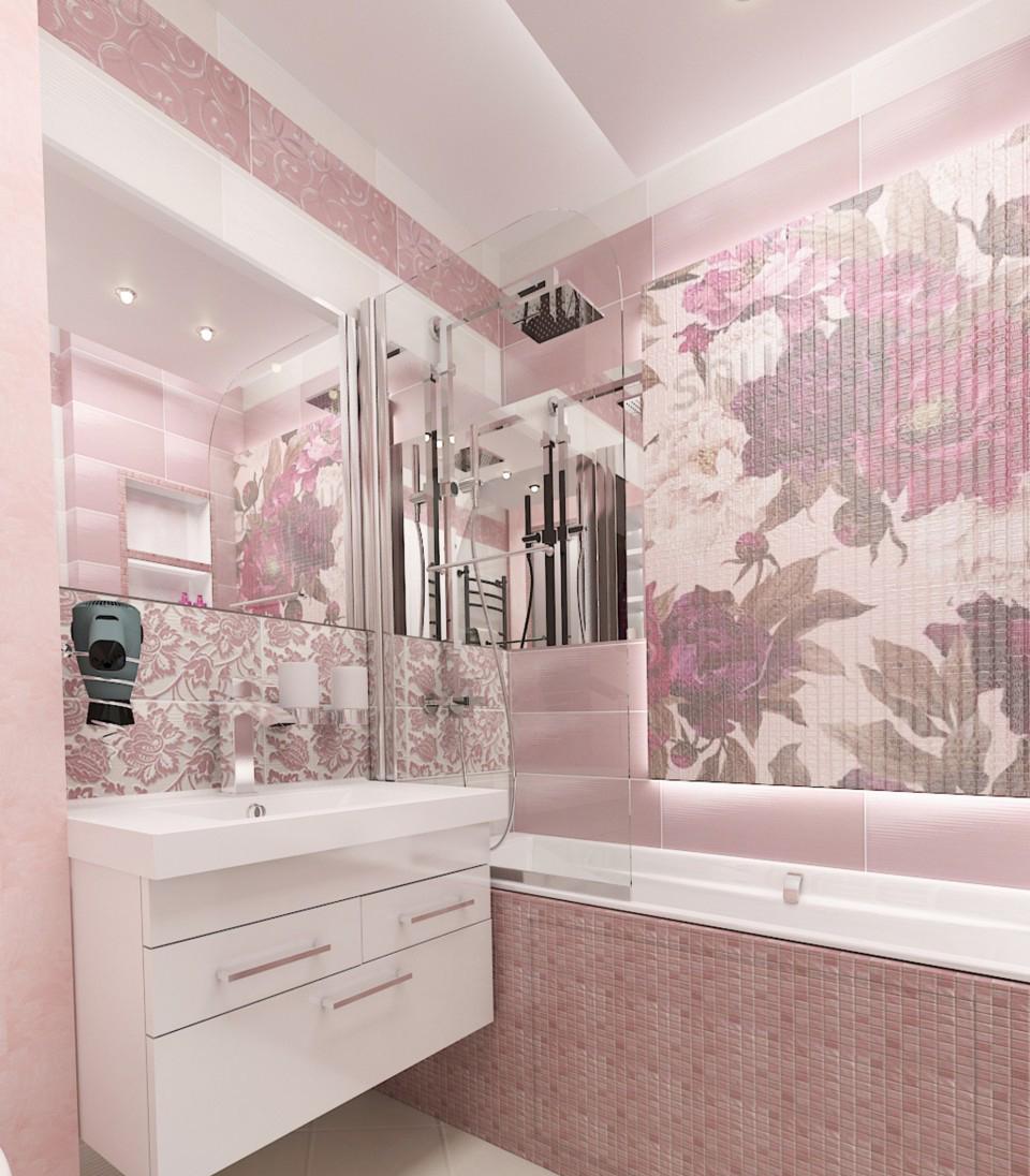 Приглушенный розовый цвет плитки и мозаики