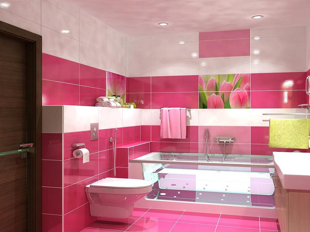 Яркий розовый и белый цвета в ванной