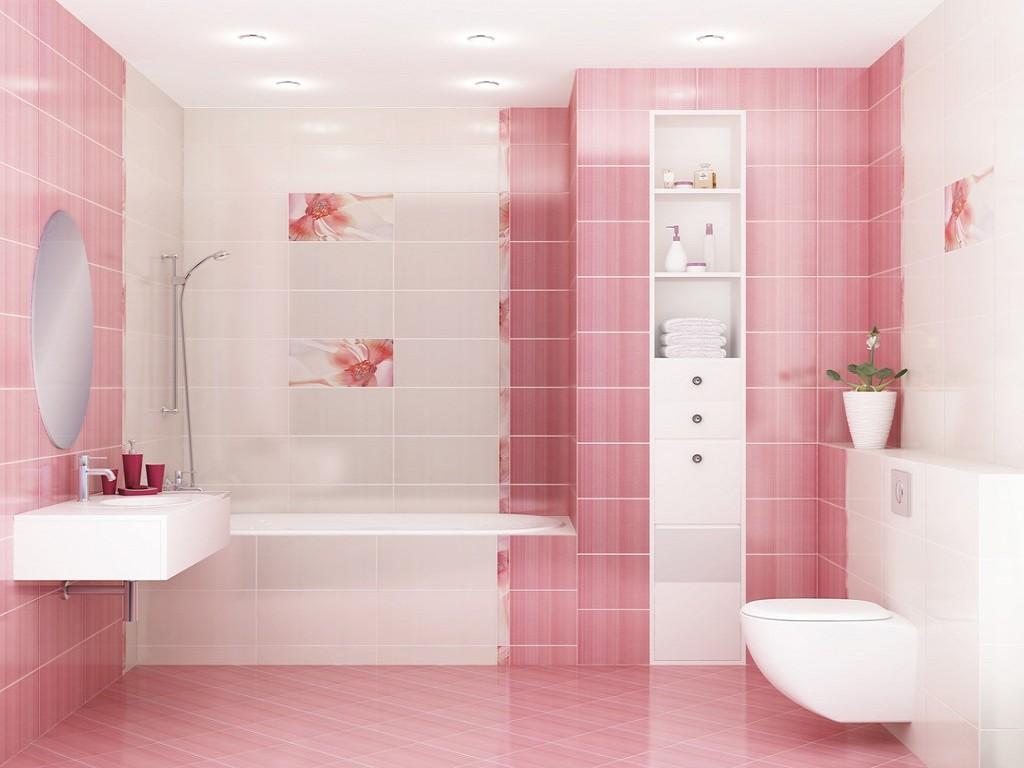 Плитка с цветами в бело-розовой ванной