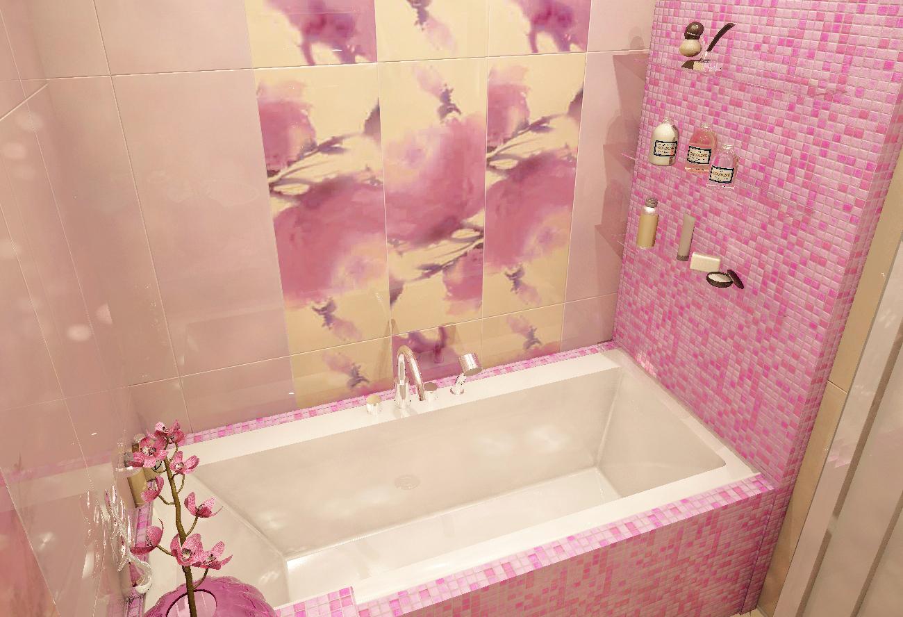 Яркая розовая мозаика в ванной