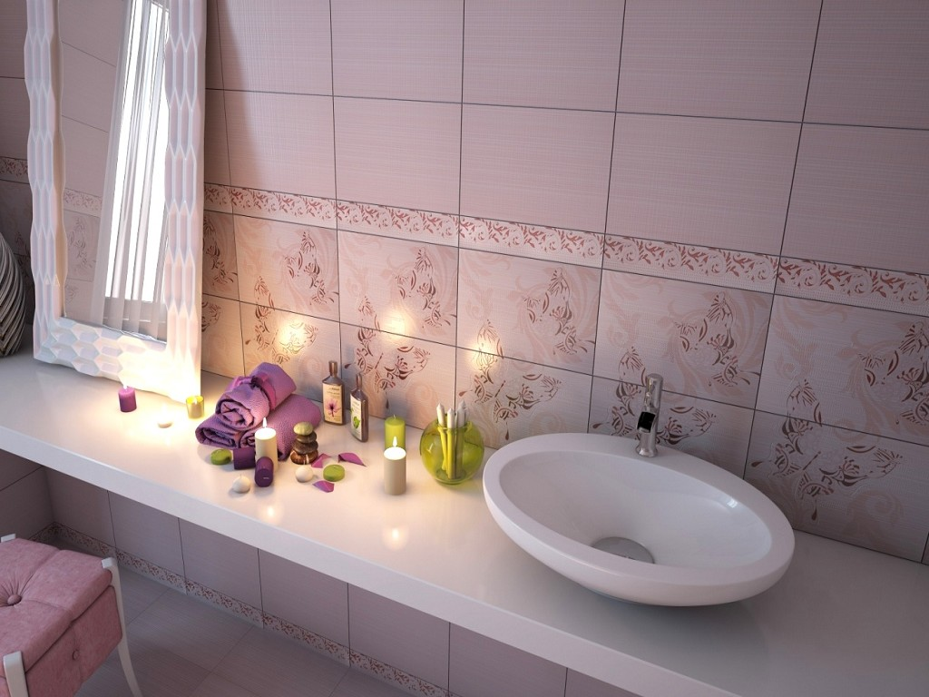 Розовые элементы в декоре ванной
