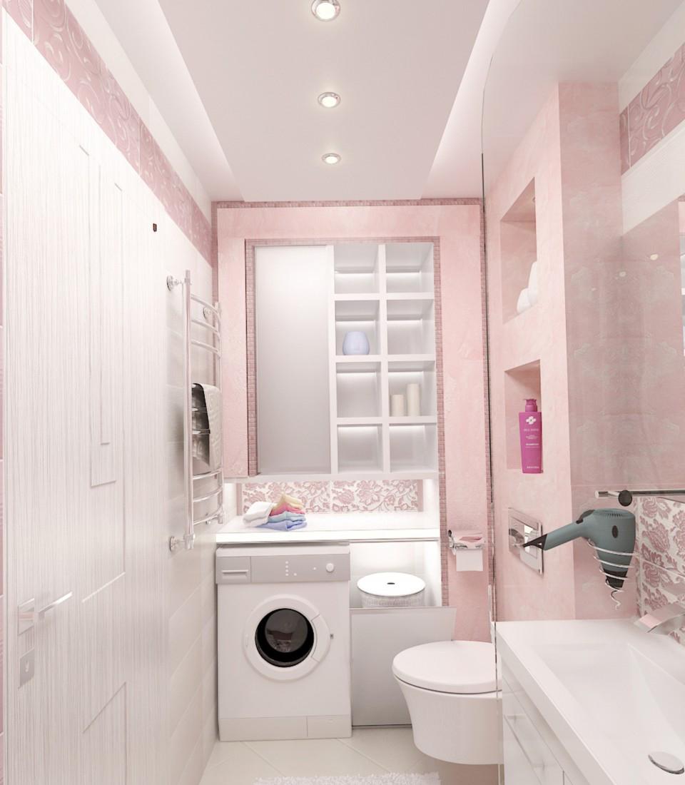 Узкая розово-белая ванная