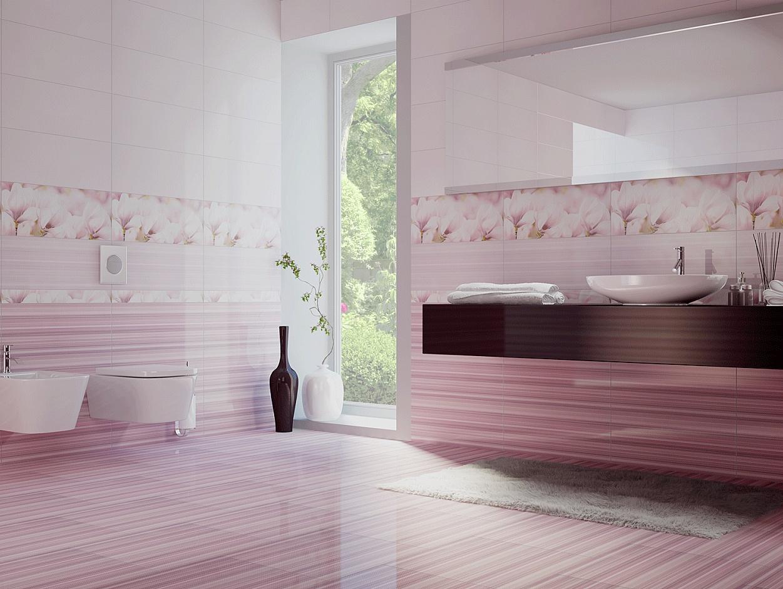 Нежно-розовая плитка в ванной