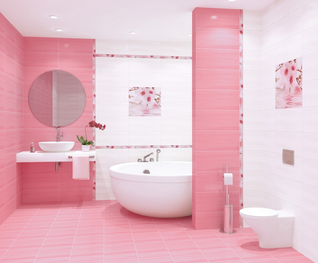 Бело-розовая ванная комната