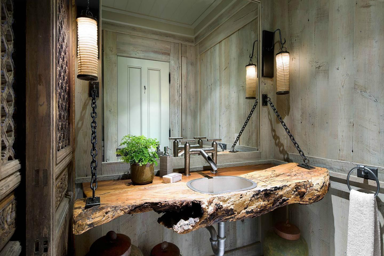 Необычная подвесная столешница в ванной