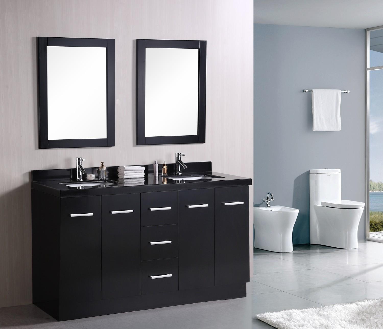 Черная столешница с полками в ванной