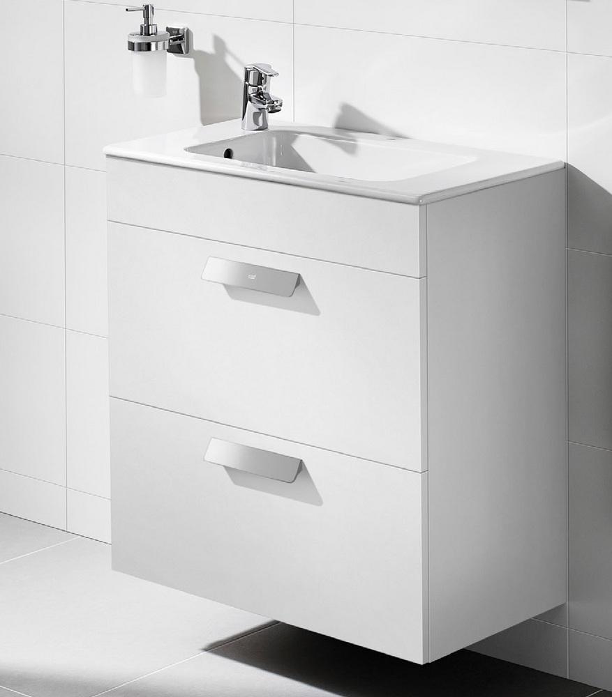 Подвесная белая тумба в стиле хай-тек в ванную