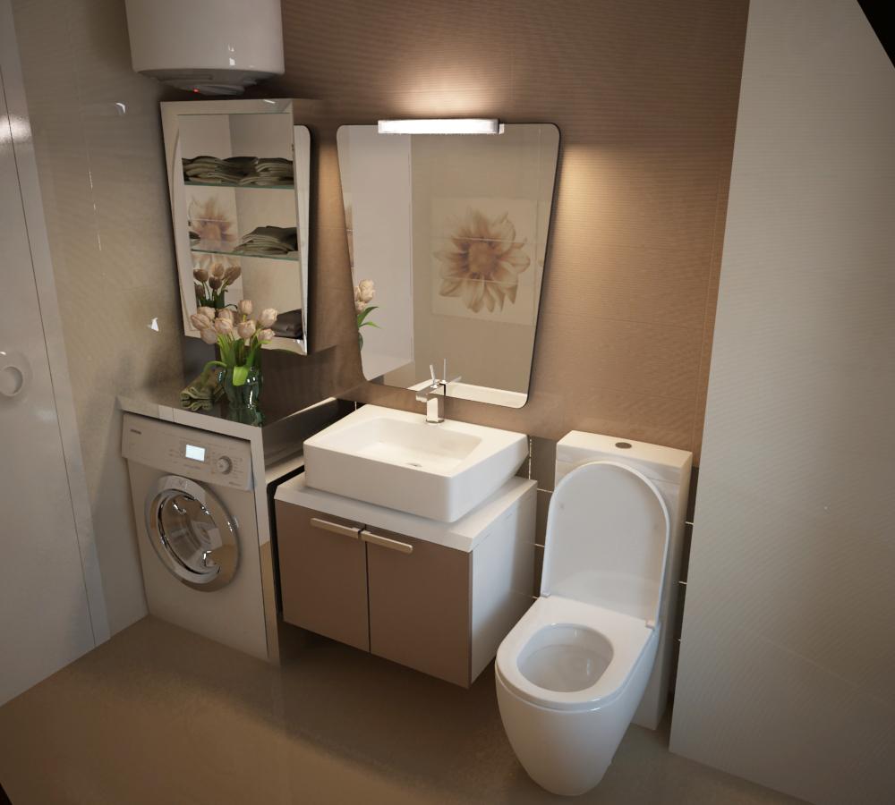 Навесная тумба под раковину в небольшой ванной комнате
