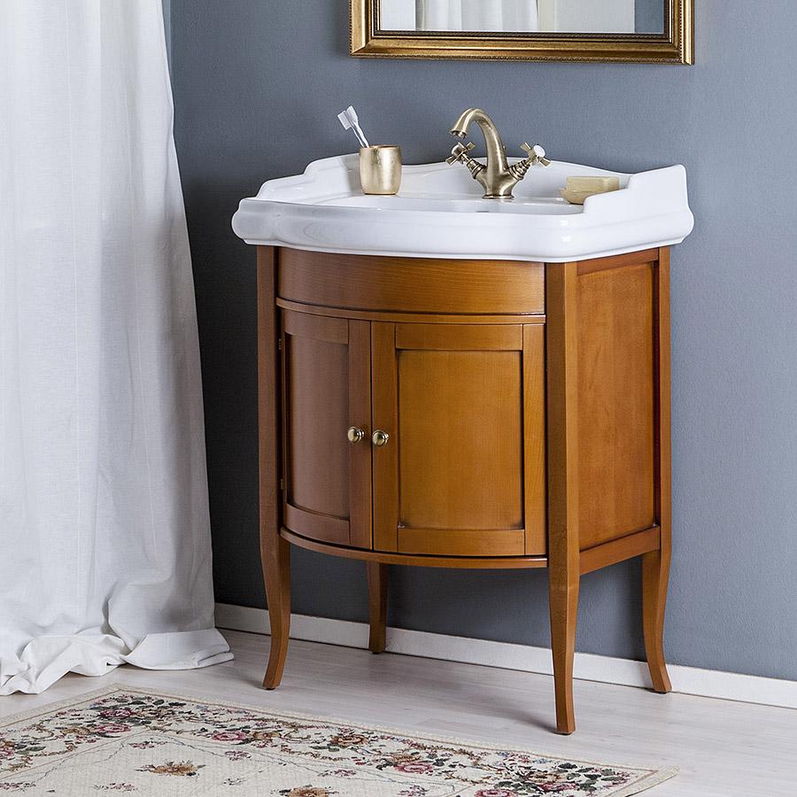 Деревянная тумба в стиле кантри в ванной