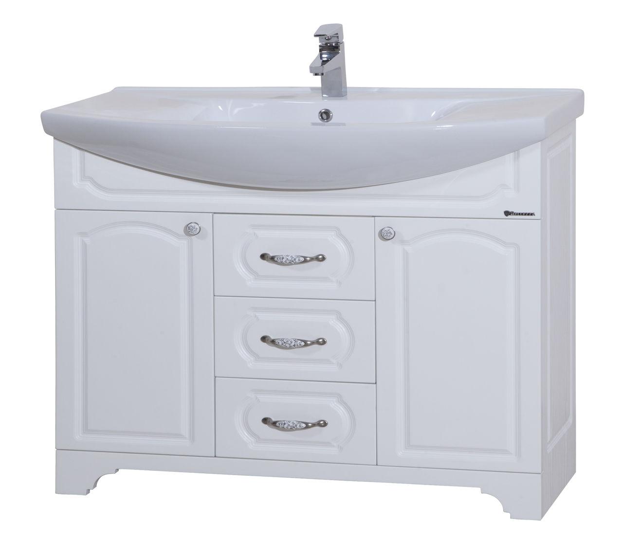 Большая напольная белая тумба под раковину в ванную