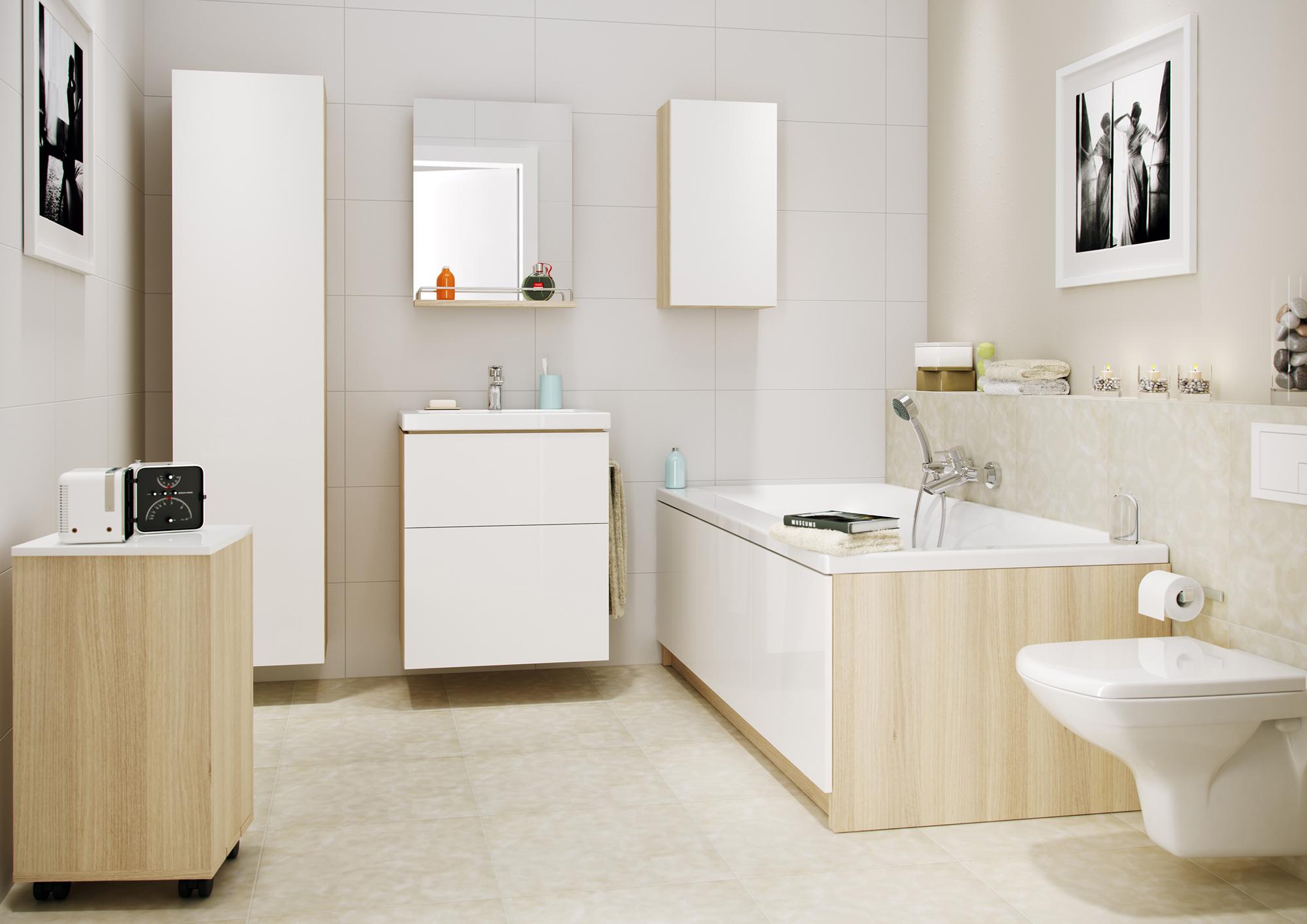 Подвесная бежево-белая тумба в ванной