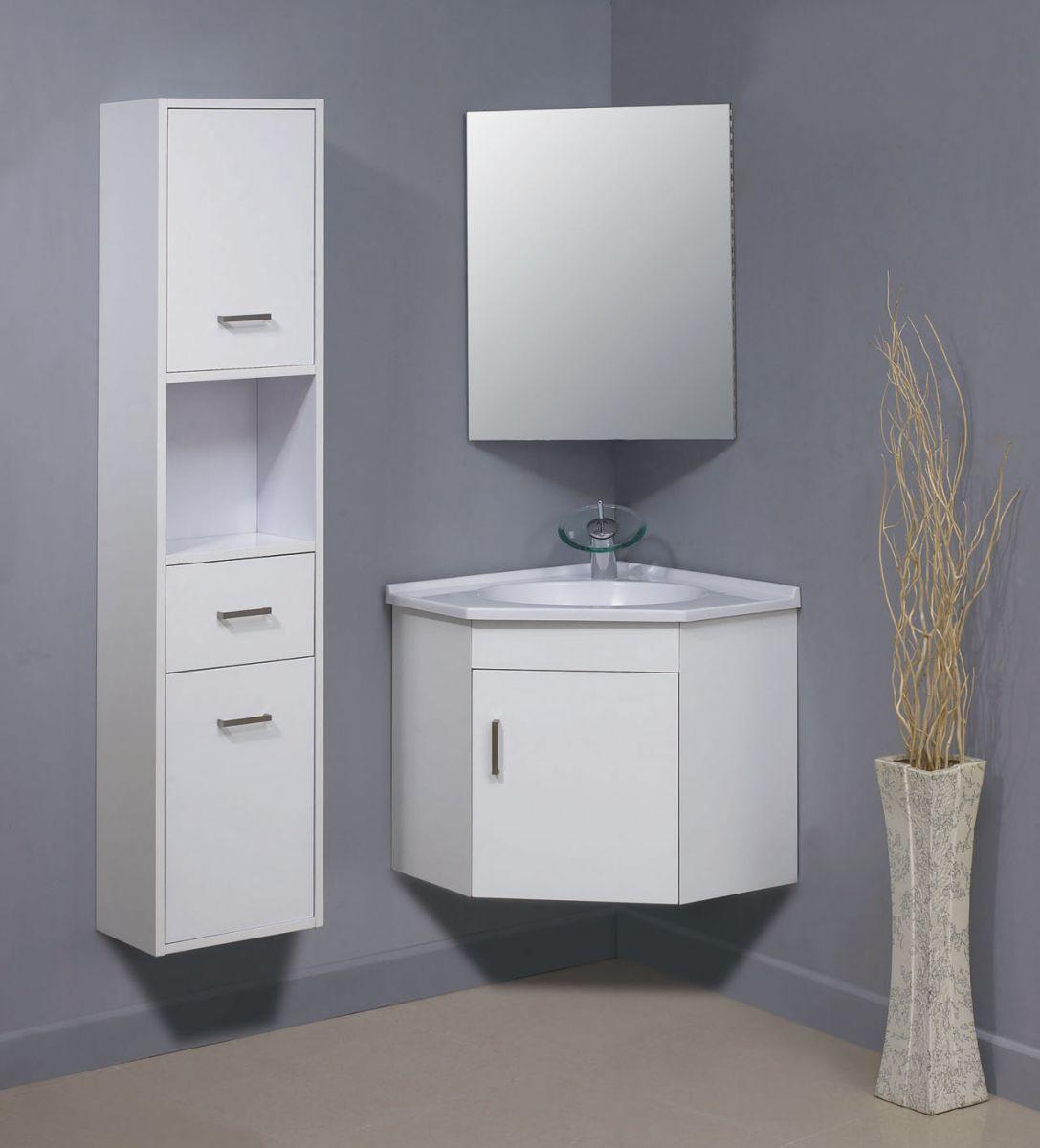 Белая углова тумба со шкафчиком и зеркалом
