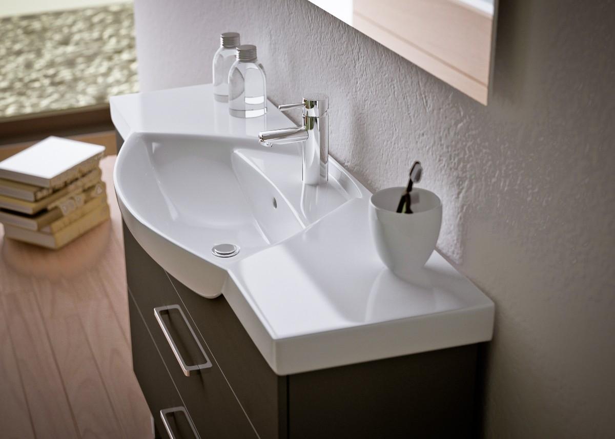 Черная тумба под белую раковину в ванную