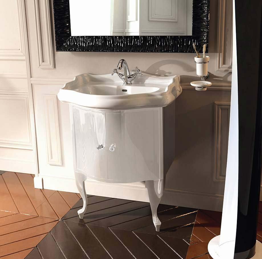 Белая глянцевая тумба под раковину в ванную