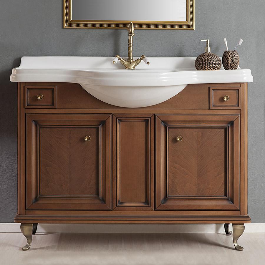 Классическая деревянная коричневая тумба под раковину в ванной