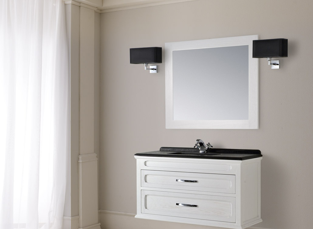Черно-белая навесная тумба в ванной