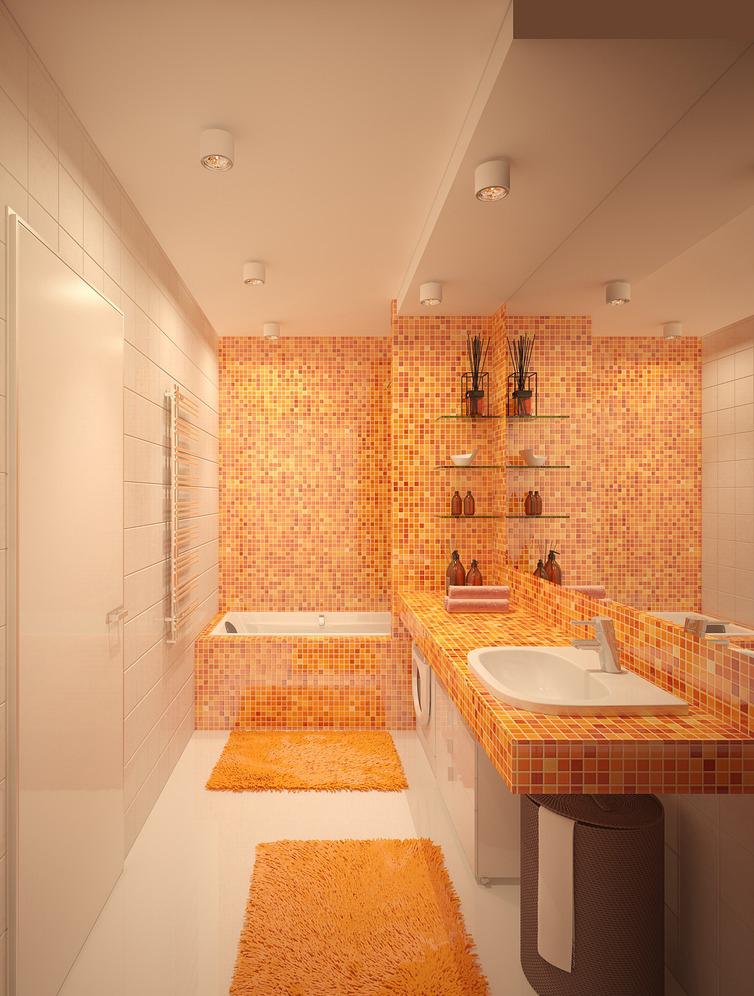 Оранжевая мозаика и коврики в ванной