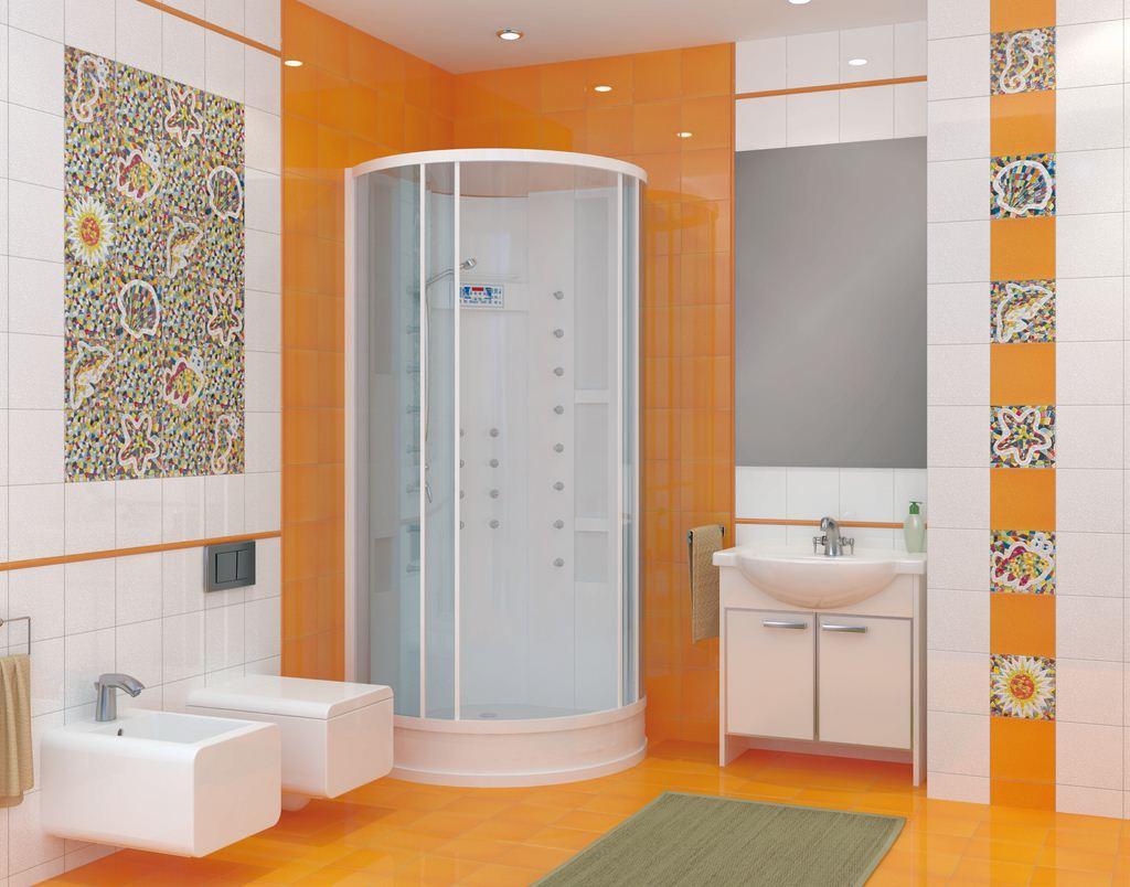 Яркая мозаика в бело-оранжевой ванной