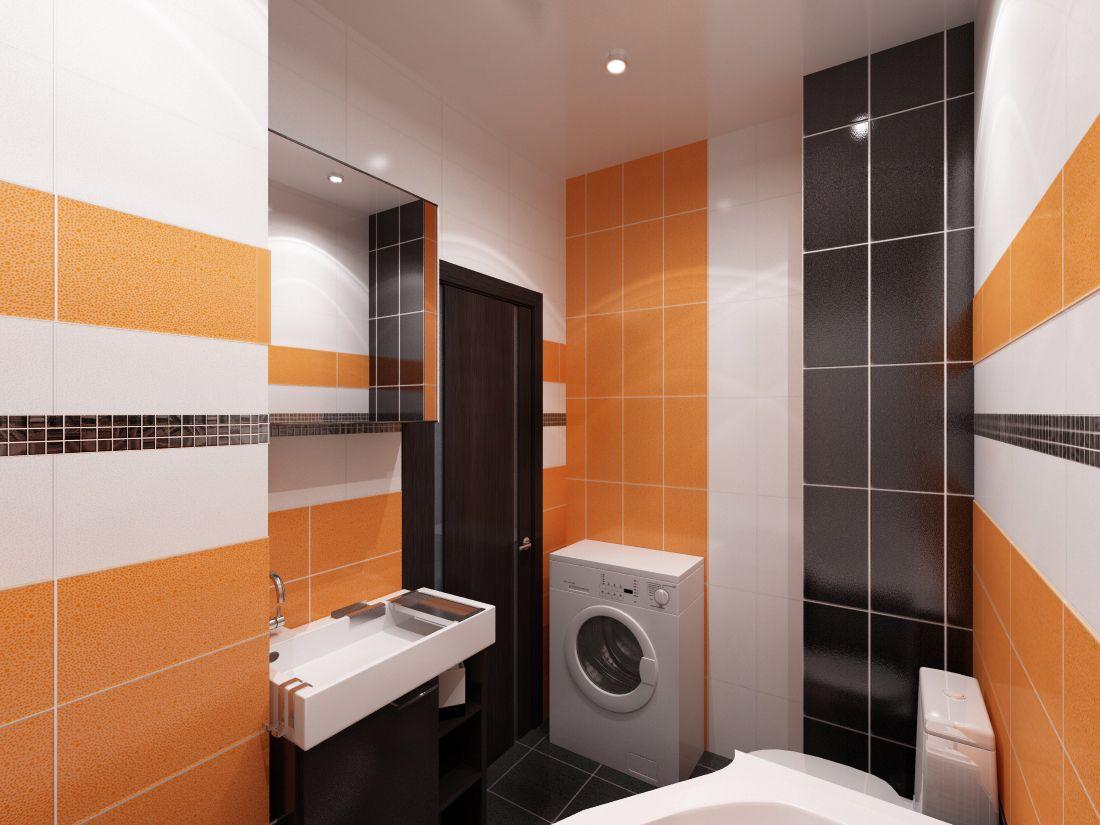 Оранжевый, черный и белый цвета в интерьере маленькой ванной