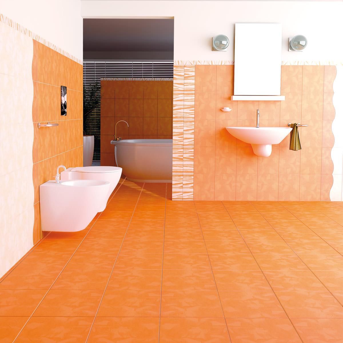 Бело-оранжевая плитка в ванной