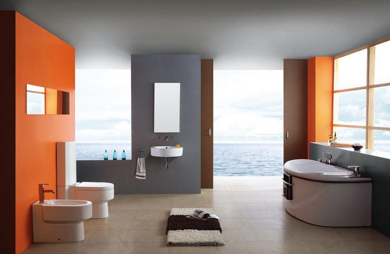 Оранжевые противоположные стены в ванной