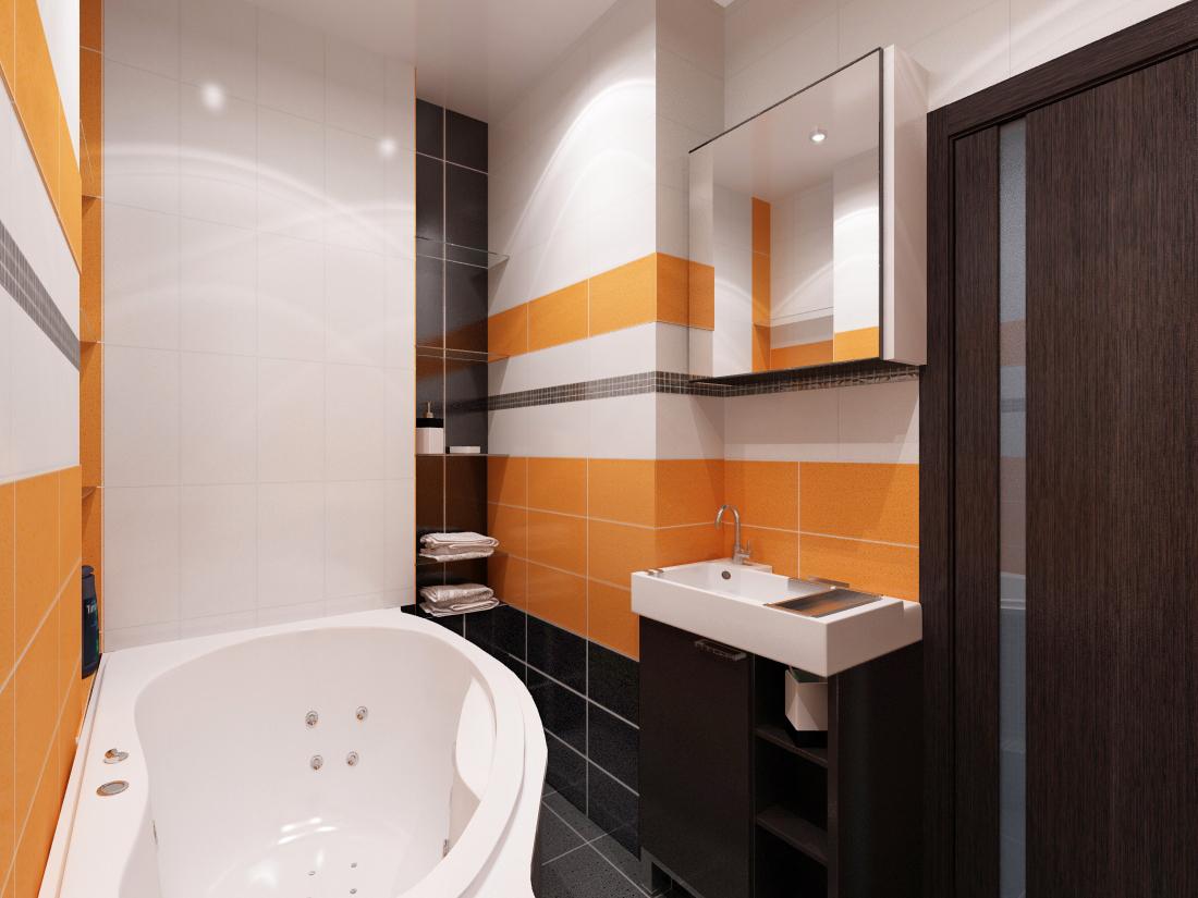 Сочетание оранжевого, черного и белого цветов в ванной
