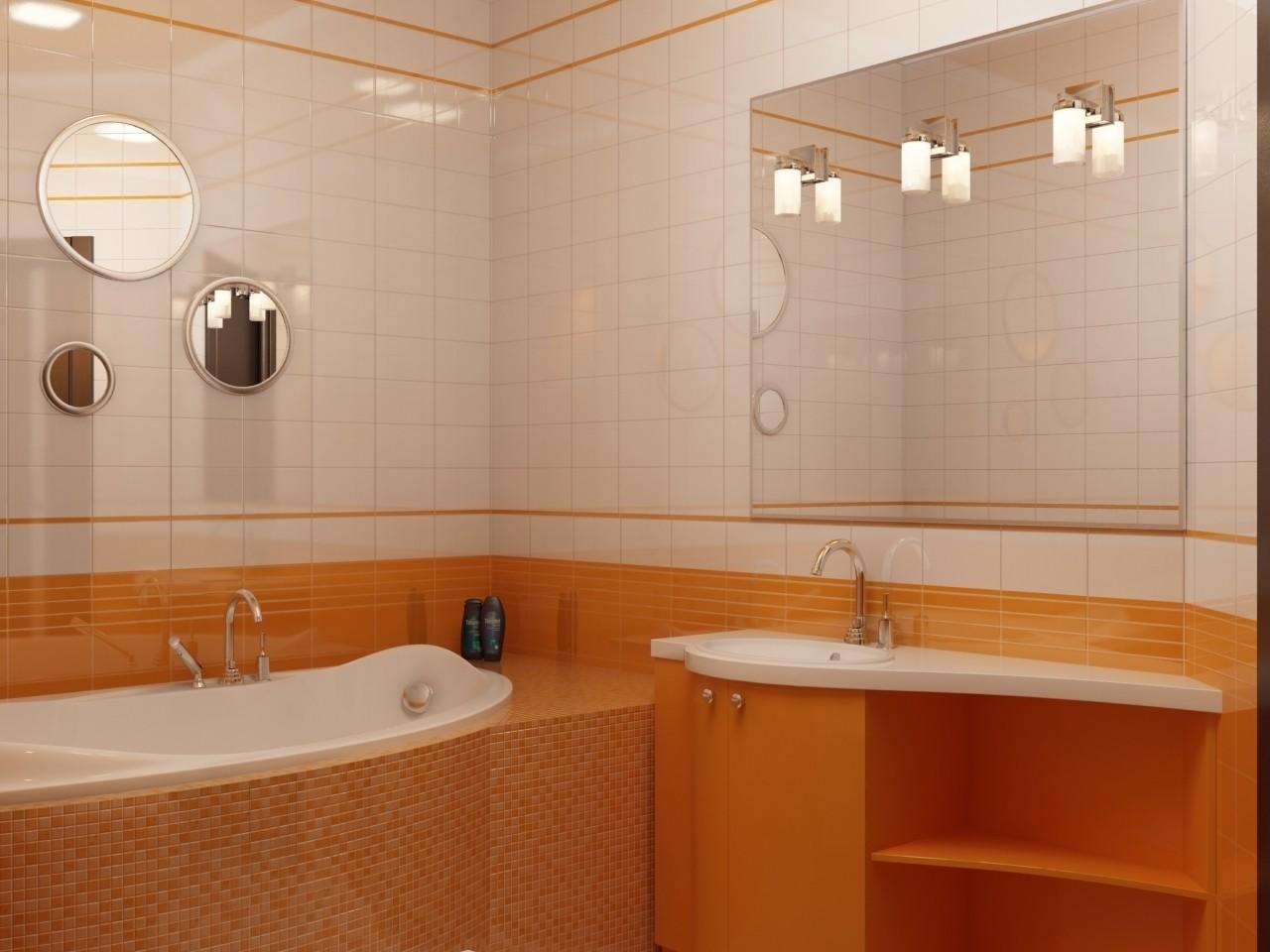 Оранжевая мозаика, тумба и часть стены в ванной