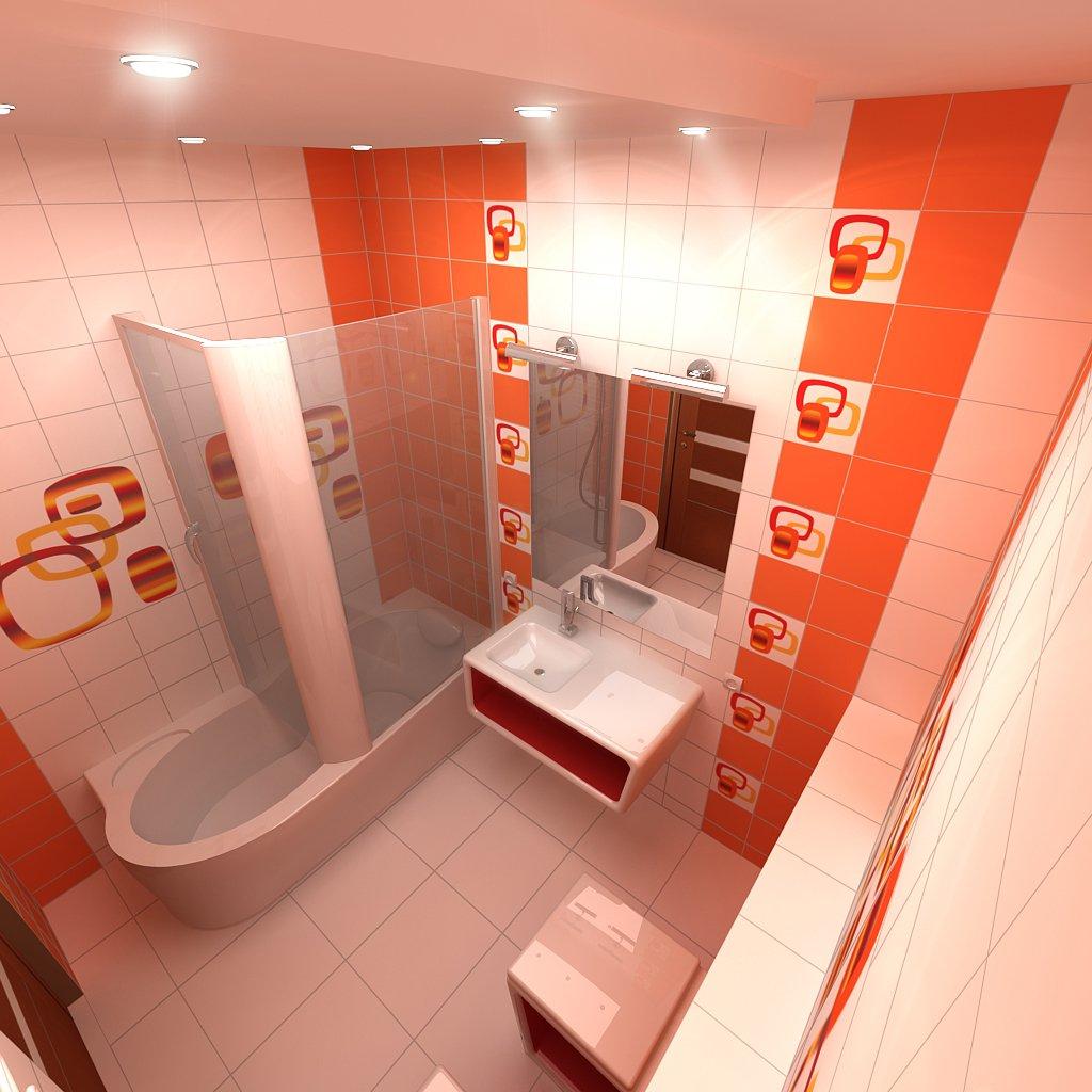 Комбинирование оранжевого и белого цвета в ванной